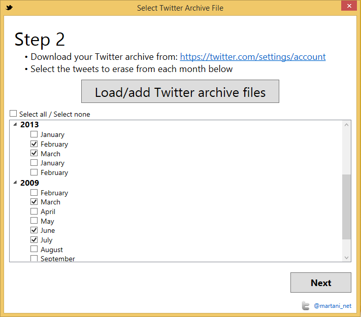 Twitter Archive Eraser 2