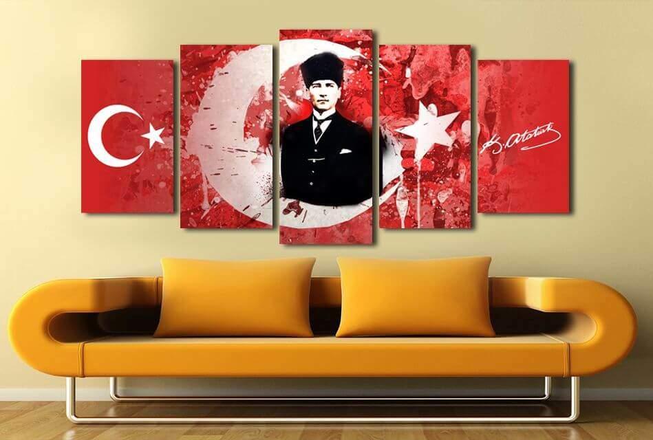 5 Parça Ay Yıldız Temalı Mustafa Kemal Atatürk Tablo