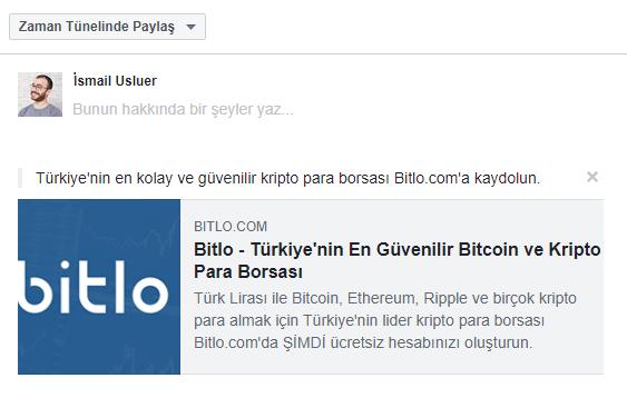 Bitlo Referans Facebook Paylaşımı
