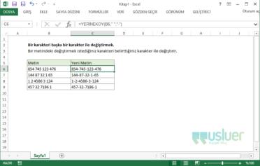 Excel'de Bir Karakteri Başka Bir Karakter İle Değiştirmek