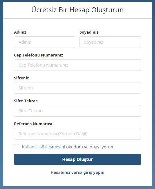 Bitlo Kayıt Ekranı